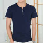 New Mens Cotton Button T Shirt Fashion Men T Shirts Slim Fit T-Shirt Tee Tops