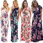 Womens Bandeau Holiday Long Dress Ladies Summer Floral Maxi Dress Size 8-20