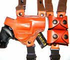 """TAGUA Brown Black Leather Shoulder Holster w/ Speedloader Pouch for 2"""" REVOLVERS"""