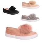 New Womens Pom Pom Flat Slip On Trainer/Pump Shoe All Sizes Black/Grey/Nude/Pink