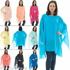 Womens Viscouse Top Italian Plain Batwing Scoop Neckline Casual Long Sleeves