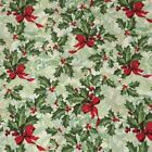 Christmas Fabric Holly & red bow sold per  1/2 Metre or Fat quarter