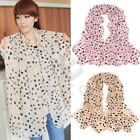 Lovely Women Heart Printed Chiffon Light Pink Beige Scarf Wrap Shawl Stole
