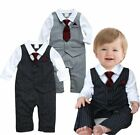 Baby Boy Wedding Christening Formal Tuxedo Suit One Piece Romper Outfit Clothes