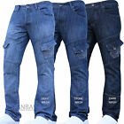 New Crosshatch Combat Jeans Cargo Denim Work Tough Darkwash Pants Trousers Waist