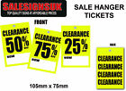 Yellow %off sale/swing tickets tags hanger labels clearance was now price gun