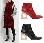 Womens Cow Leather Oxfords shoes Mid Cuban Heel Ankle Boot Party Shoes Size Zip
