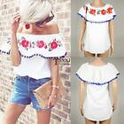 New Fashion Women Casual Slash Neck Off the Shoulder Prints Tassel Sexy TXSU
