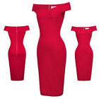 Ladies Retro Vintage Off Shoulder Hips-Wrapped Office Bodycon Party Pencil Dress