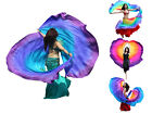 2pcs 2.7m*1.1m 8mm real silk half circle belly dance double veils,edges rolled