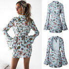 UK Women Long Sleeve Floral Backless Bodycon Party Ladies Casual Slim Mini Dress
