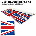 2 UNION JACKS PER METRE FABRIC LYCRA SATIN JERSEY CHIFFON PRICES FROM £15.99
