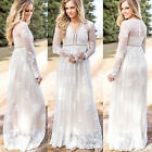 UK Women Long Sleeve Lace Embroidery Cocktail Ladies Party Loose Long Maxi Dress