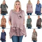 Womens Tunic Top Size Knitted Cowl Neck Snood Lagenlook Mesh Hemline Long Sleeve