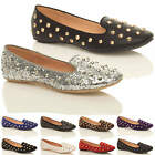 Womens ladies studded punk goth loafers ballet flats slip on dolly shoes size