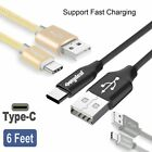 3x 6FT Braided Type C Fast Charging Cable USB-C Rapid Cord Power Charger Charge