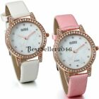 Women Girls White Pink Leather Band Butterfly Dial Casual Quartz Wrist Watch New