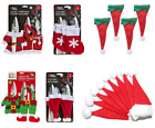 Set of 4 - Christmas Cutlery Holders Bag Santa Dinner Xmas Table Decorations New