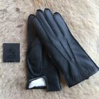 Women's Black Winter Leather Gloves from Deerskin leather and rabbit fur lining