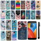 "For Motorola Moto E4 XT1760 5"" 2017 PATTERN HARD Back Case Phone Cover + Pen"