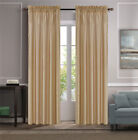 2PC LUXURY SOLID FAUX SILK WINDOW CURTAIN TREATMENT SET ROD POCKET PANELS MR2