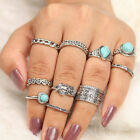 10x Boho Vintage Turquoise Above Knuckle Ring Band Midi Rings Stacking Ring Set