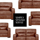 SEVERO Modern Italian Inspired Tan Leather Sofas 3 + 2 Seaters + Armchairs