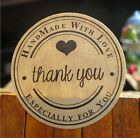 Round Paper Labels 'Thank you, Hand made with love' Gift Food Craft Stickers hm7