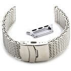 New 4MM Shark Mesh Stainless Steel Watch Band Bracelet Strap For Apple Watch 1/2