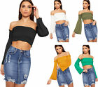 Womens Shirring Stretch Bandeau Long Flared Bell Sleeve Short Ladies Crop Top