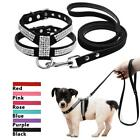 Rhinestone Suede Leather Padded Puppy Dog Harness and Leads Bling for Small Dogs