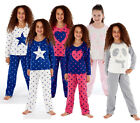 Kids Girls Brushed Fleece Warm Lounge wear Pyjama Set Bottoms Pjs Pants Top 7-13
