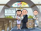 PERSONALIZED CUSTOM CARTOON PRINT - BAPTISM - GREAT GIFT IDEA! FREE S/H