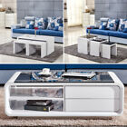 Coffee Table High Gloss MDF Modern Design White Living Room End Side Furniture