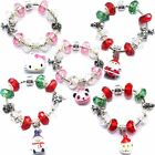 Finished Christmas Jingle Bell Charm Bracelets Hello Kitty Santa Snowman Beads