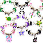Girls Animal Starter Charm Bracelets with Charms Beads Gift Bag Kids Birthday