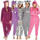 Ladies Girls 1Onesie Hooded All in One Pyjamas Novelty Animal Fleece Zip Pajama
