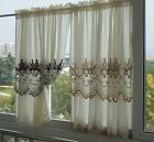 Top grade Lotus embroidery lace soft Home Sheer Cafe Window Curtain Ivory