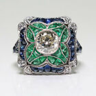 Vintage 925 Sterling Silver Blue Sapphire Ring Women Engagement Bridal Jewelry