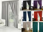 READY MADE THERMAL BLACKOUT CURTAINS EYELET RING TOP OR PENCIL PLEAT + TIE BACKS