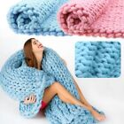 100*80 Soft Warm Hand Chunky Knit Blanket Thick Yarn Wool Bulky Bed Spread Throw