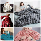 Chunky Knitted Thick Blanket Hand Yarn Bulky Knit Throw Sofa Blanket 100*80cm UK