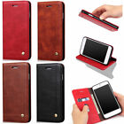 Business Leather Wallet Magnetic Flip Case Stand Cover for iPhone Samsung Phone