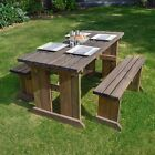 Tinwell Picnic Table And Bench Set - Wooden Outdoor Heavy Duty Garden Furniture