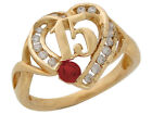 10k or 14k Yellow Gold 15 Anos Quinceanera Simulated Garnet January Heart Ring