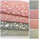 Woodland World  pink & green 100% cotton fabrics sold per 1/2 metre