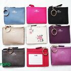 NEW COACH Wallet Coin Purse ID MINI SKINNY LEATHER Signature KEY CHAIN 63923