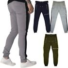 Mens Slim Fit Skinny Contrast Stripe Designer Jogging Joggers GYM Zip Trouser UK