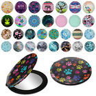 Leather Makeup Mirror Hand Pocket Travel Mini Cosmetic Round Circle