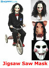 Creepy Billy Puppet Jigsaw Scary Movie Halloween Cosplay Mask Saw Latex Costume